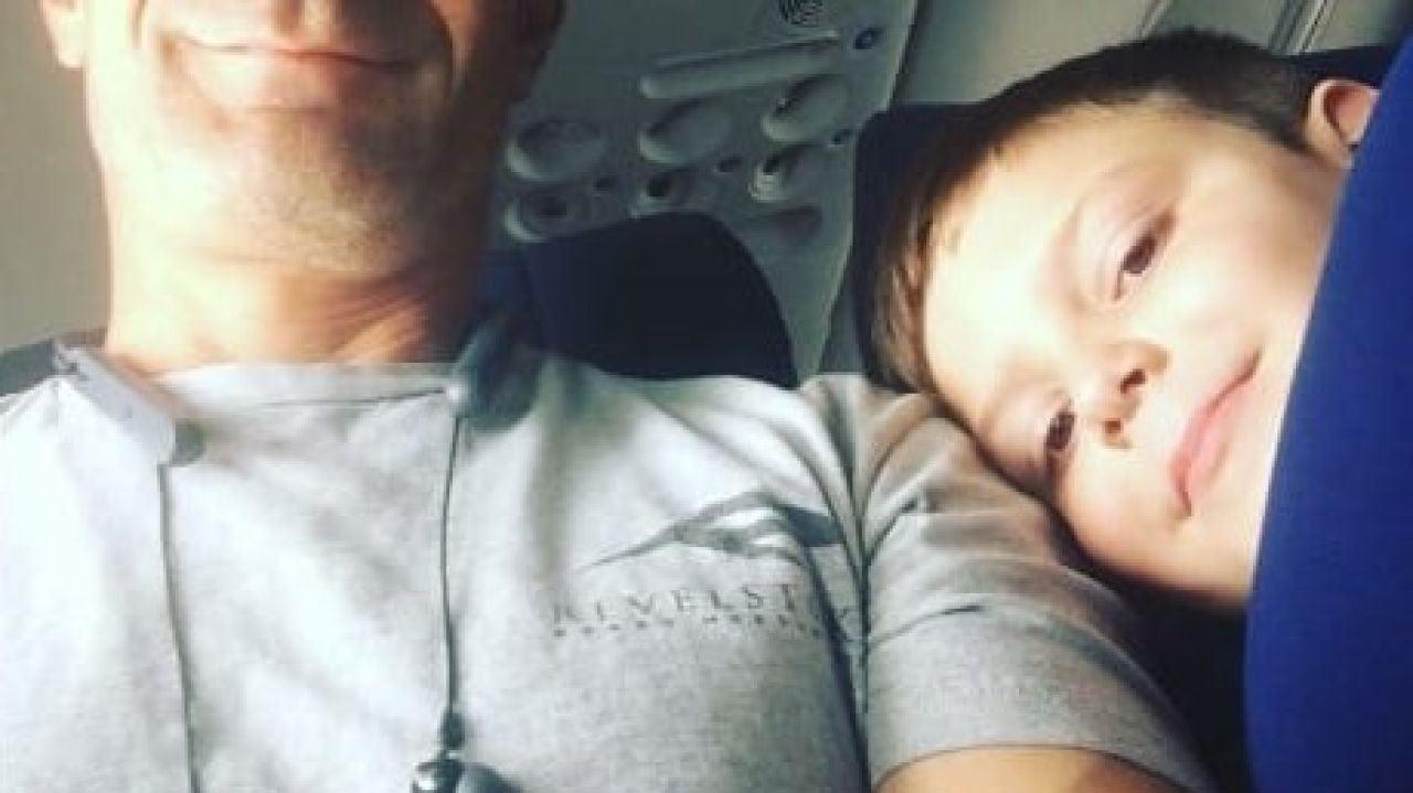 La foto de Ben y Landon durante el vuelo