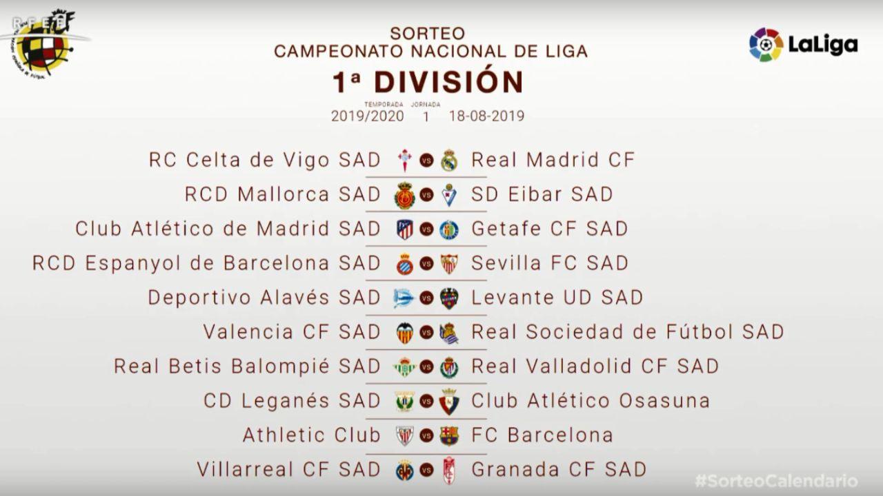 Calendario 2020 Liga.Calendario Liga 2019 2020 El Primer Clasico Entre Barcelona Y Real Madrid Sera El 27 De Octubre