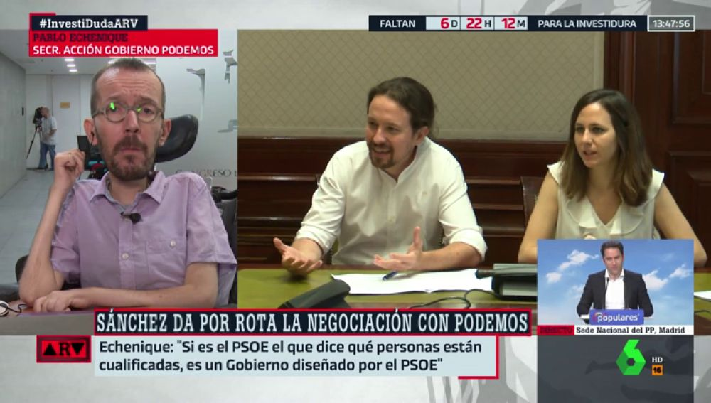 """Echenique insiste en la negociación por """"un gobierno de coalición"""": """"Estamos dispuestos a sentarnos con el PSOE dentro de 15 minutos"""""""