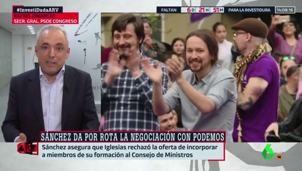 """Rafael Simancas (PSOE): """"Parece que Pablo Iglesias quiere votar 'no' con la ultraderecha a Pedro Sánchez"""""""