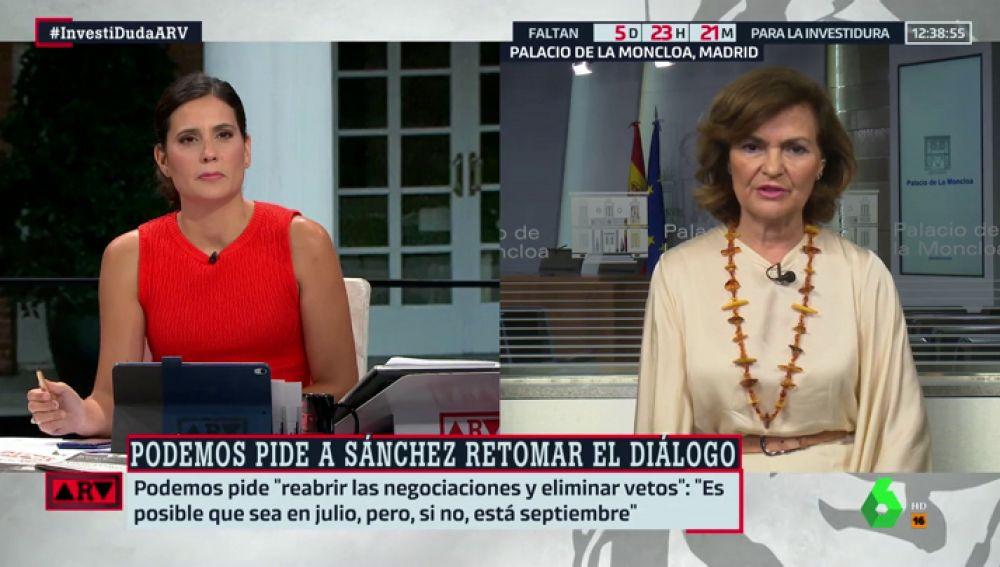 """Carmen Calvo: """"El PSOE propone documentos y líneas de trabajo, pero Iglesias solo habla de cargos en el Consejo de Ministros"""""""