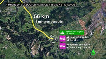 El recorrido que siguió el conductor kamikaze
