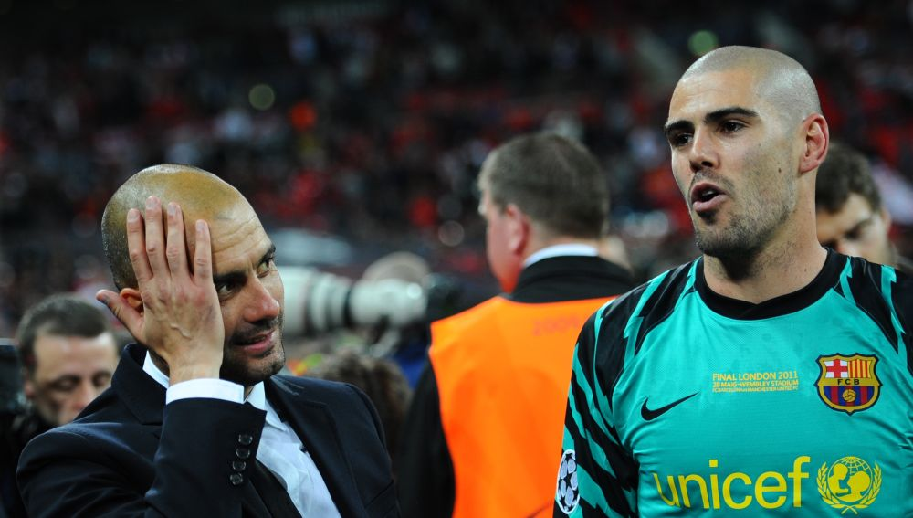 Victor Valdés y Pep Guardiola