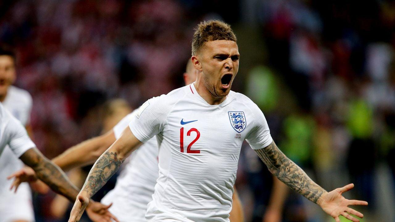 Kierian Trippier, tras anotar un gol frente a Croacia en el Mundial