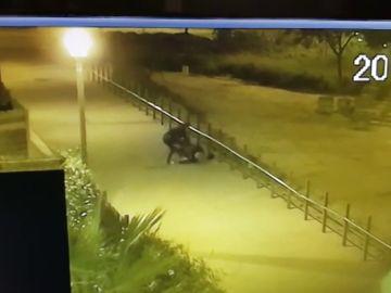 La anciana tirada en el suelo mientras que el ladrón la golpea para conseguir su bolso.