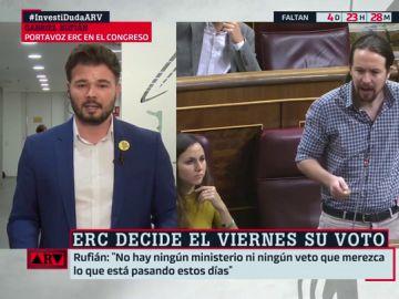 """Gabriel Rufián, a Pablo Iglesias: """"¿Una vicepresidencia vale darle la oportunidad a Rivera, Casado y Abascal de llegar a la Moncloa?"""""""