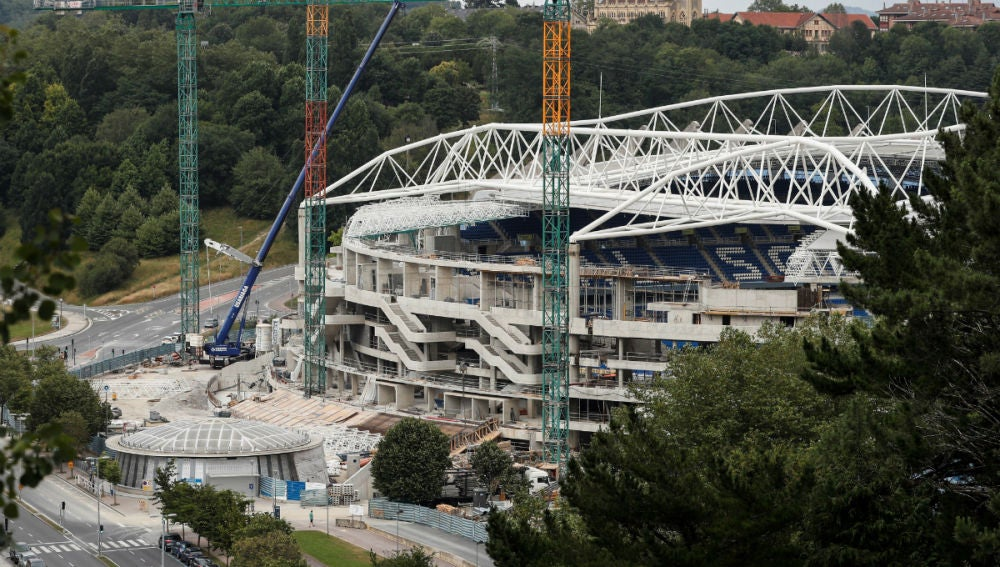 El estadio de Anoeta, en obras