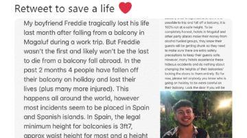 Tuit de la novia del chico fallecido en Magaluf tras precipitarse por el balcón