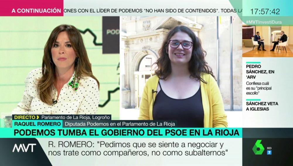 """Raquel Romero, tras tumbar el Gobierno del PSOE en La Rioja: """"Queremos nos trate como compañeros, no como subalternos"""""""