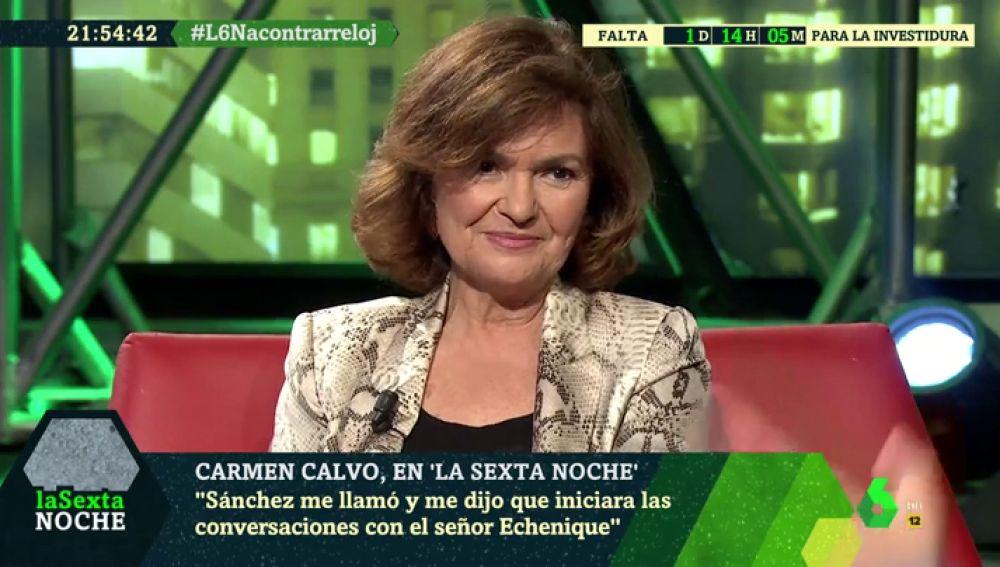 """Carmen Calvo: """"Pedro Sanchez me dijo que ya ha hablado con Iglesias y que yo hablara con Echenique"""""""