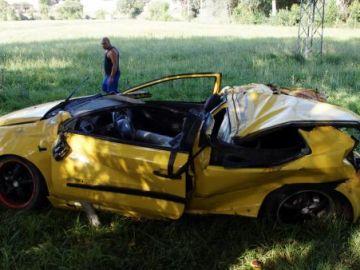El vehículo accidentado en Galisancho, Salamanca.