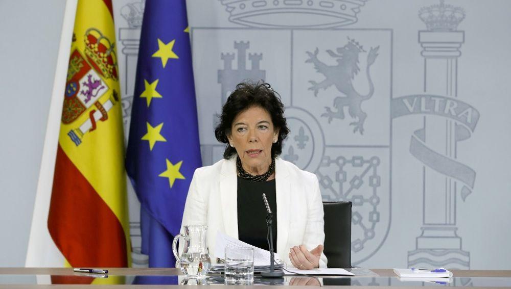La portavoz del Gobierno y ministra en funciones de Educación, Isabel Celaá