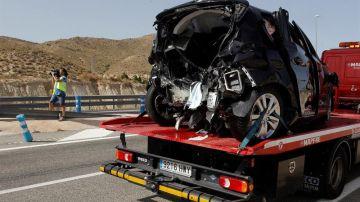Vista de uno de los vehículos implicados en el accidente de tráfico