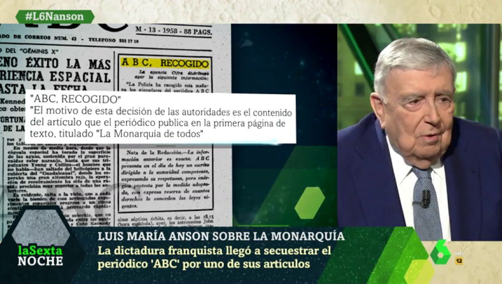 Luis María Anson recuerda cómo Franco le mandó al exilio por publicar el artículo 'La monarquía de todos'