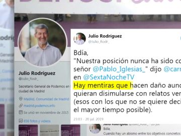 """Julio Rodríguez (Podemos) considera falso que el PSOE no haya vetado a Pablo Iglesias: """"Hay mentiras que hacen daño"""""""