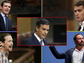 Los principales líderes políticos en la sesión de investidura