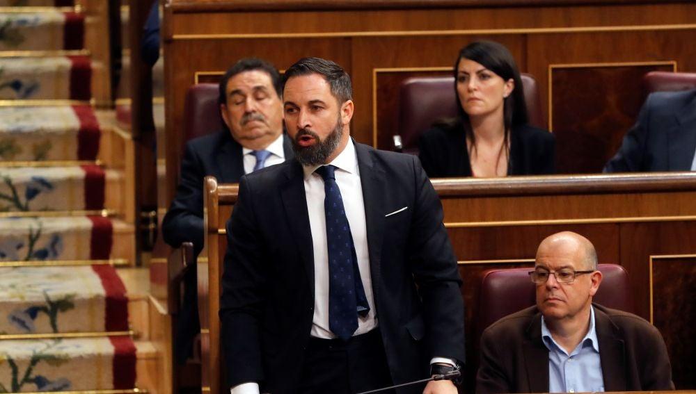 El líder de VOX, Santiago Abascal, interviene en la primera jornada del debate de investidura que afronta el líder socialista, Pedro Sánchez.