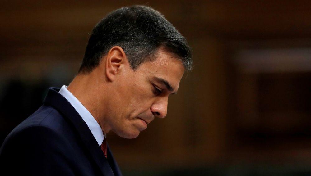 El candidato socialista a la Presidencia del Gobierno, Pedro Sánchez, durante su intervención