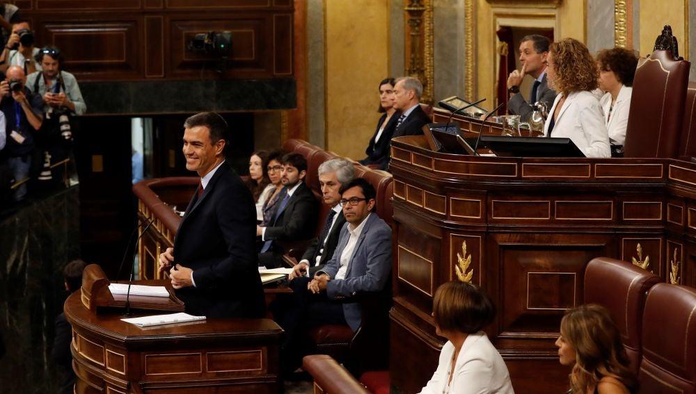 Pedro Sánchez en el Congreso durante la sesión de investidura