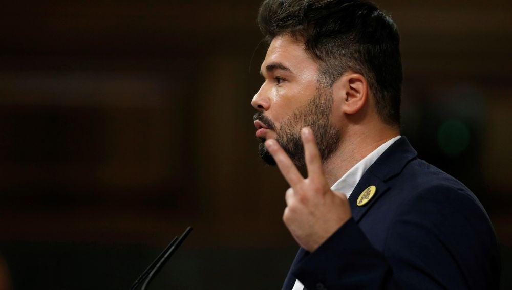 Gabriel Rufián en la sesión de investidura de Pedro Sánchez