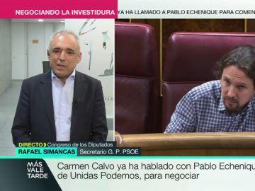 """Rafael Simancas, optimista con las nuevas negociaciones con Unidas Podemos: """"Estamos trabajando con confianza y optimismo"""""""
