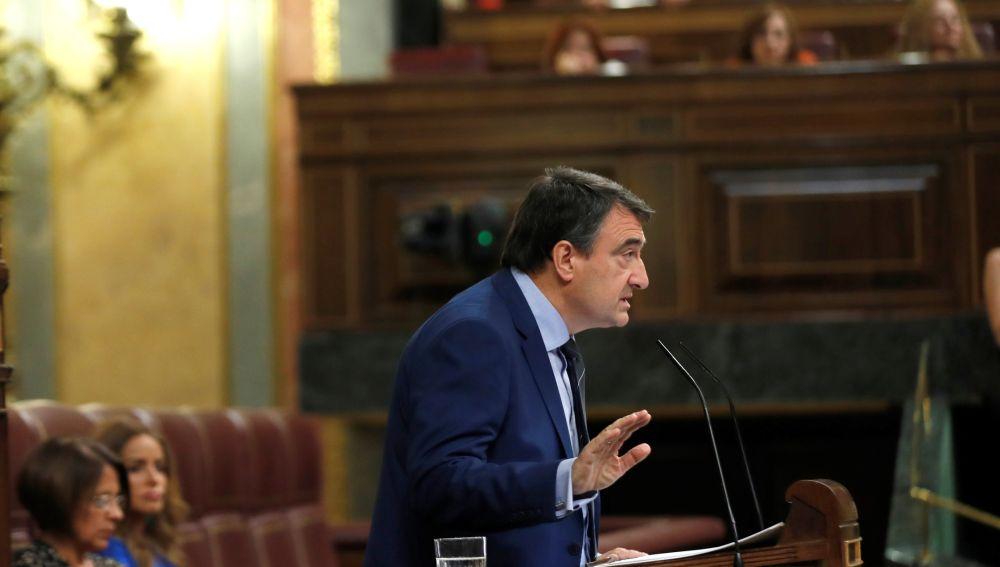 El portavoz del Partido Nacionalista Vasco en el Congreso de los Diputados, Aitor Esteban, interviene en el debate de investidura.