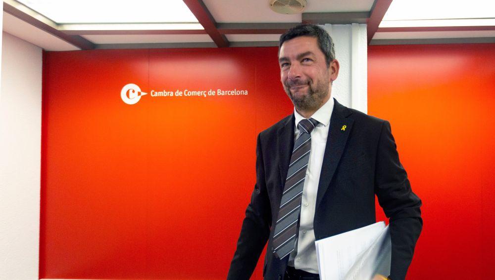 El presidente de la Cámara de Comercio de Barcelona, Joan Canadell, durante la rueda de prensa.