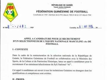 Oferta de trabajo de la selección guineana