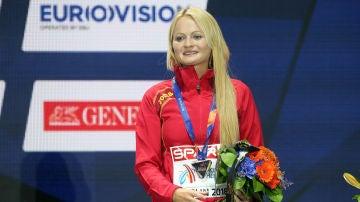Julia Takacs, en 2018, tras ganar la medalla de bronce europea