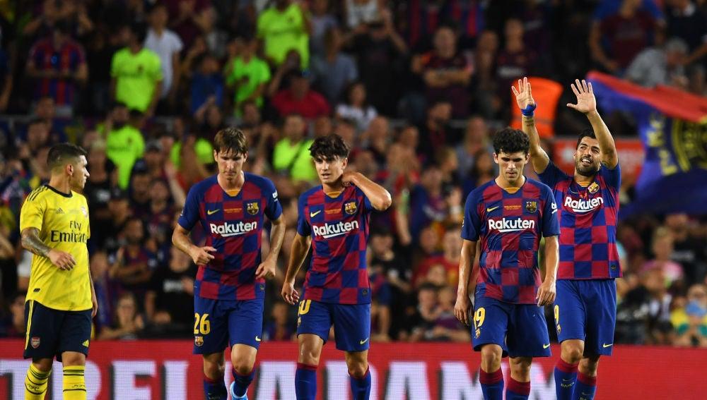 Luis Suárez celebra su gol contra el Arsenal