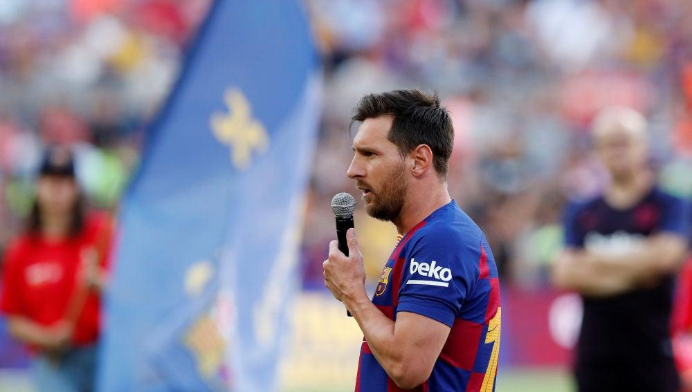 Messi, en su discurso a la afición del Barça