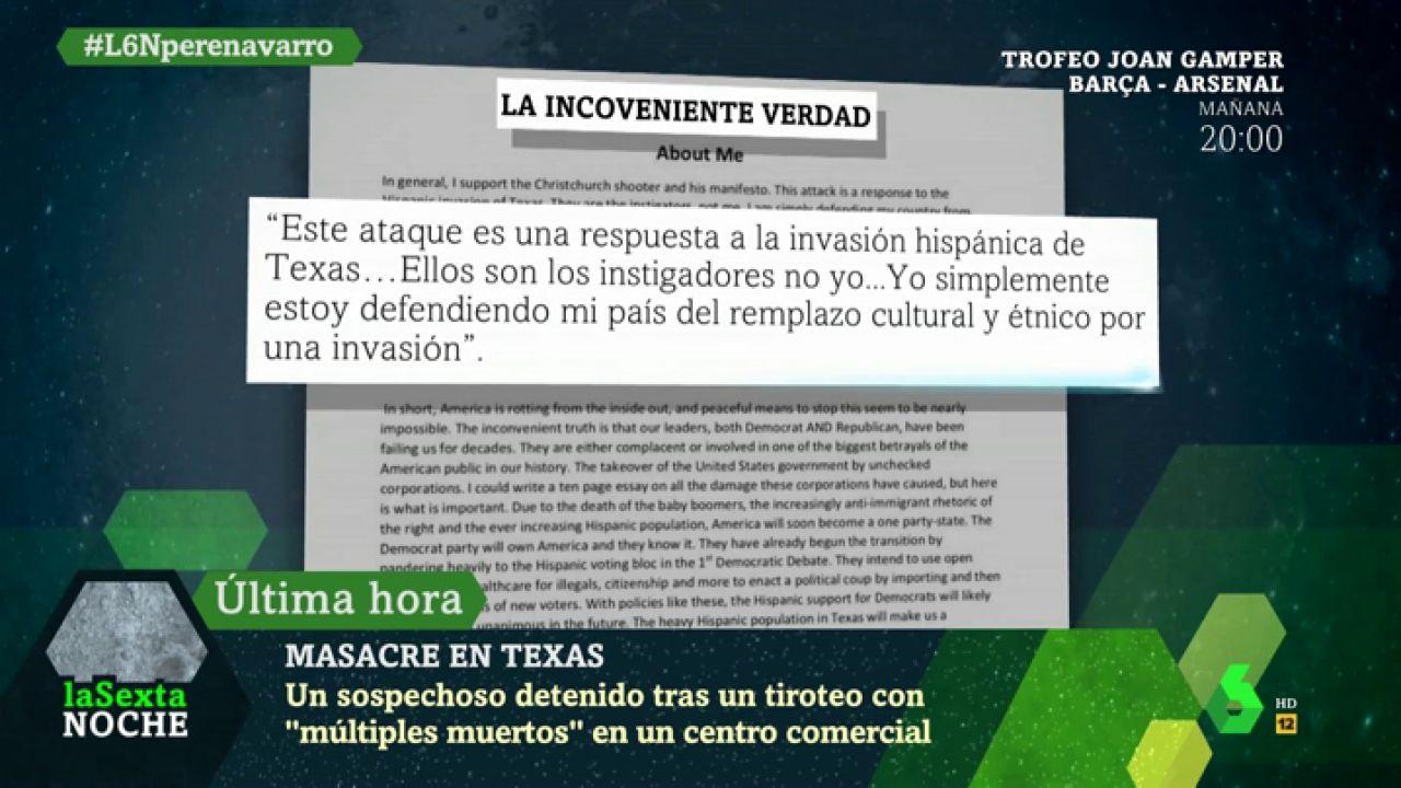 """El texto que publicó el autor de la masacre de Texas: """"Es una respuesta a la invasión hispánica"""""""