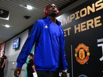 Pogba, antes de un partido del Manchester United
