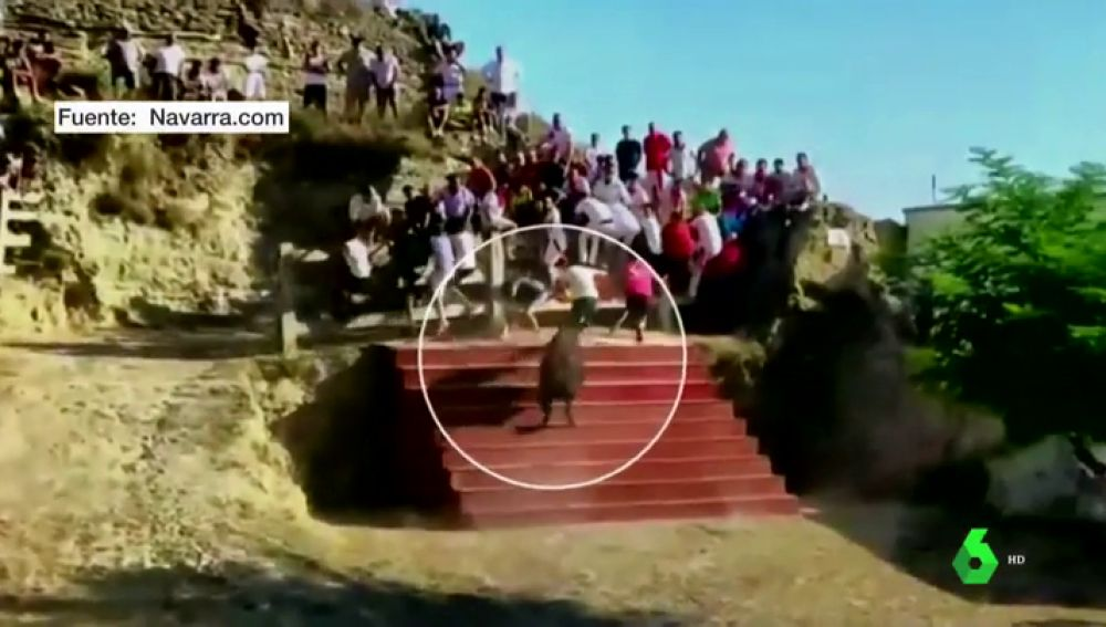 Un joven cae de cabeza desde una grada tras ser embestido por una vaquilla en el Estrecho de Arguedas (Navarra)