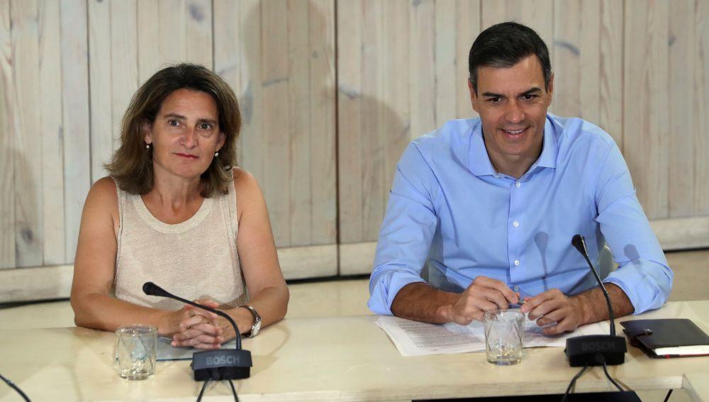 Pedro Sánchez y la ministra de Transición Ecológica en funciones, Teresa Ribera, durante la reunión con organizaciones ecologistas