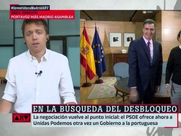 """Íñigo Errejón: """"Si no te fías del PSOE es mejor no compartir Gobierno y controlarlo desde el Parlamento"""""""