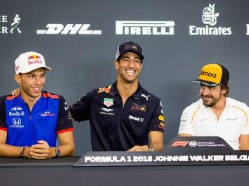 Pierre Gasly, Daniel Ricciardo y Fernando Alonso, en el GP de Bélgica de 2018
