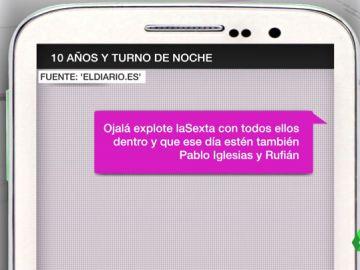 Mensaje contra laSexta en el chat de la Policía de Madrid