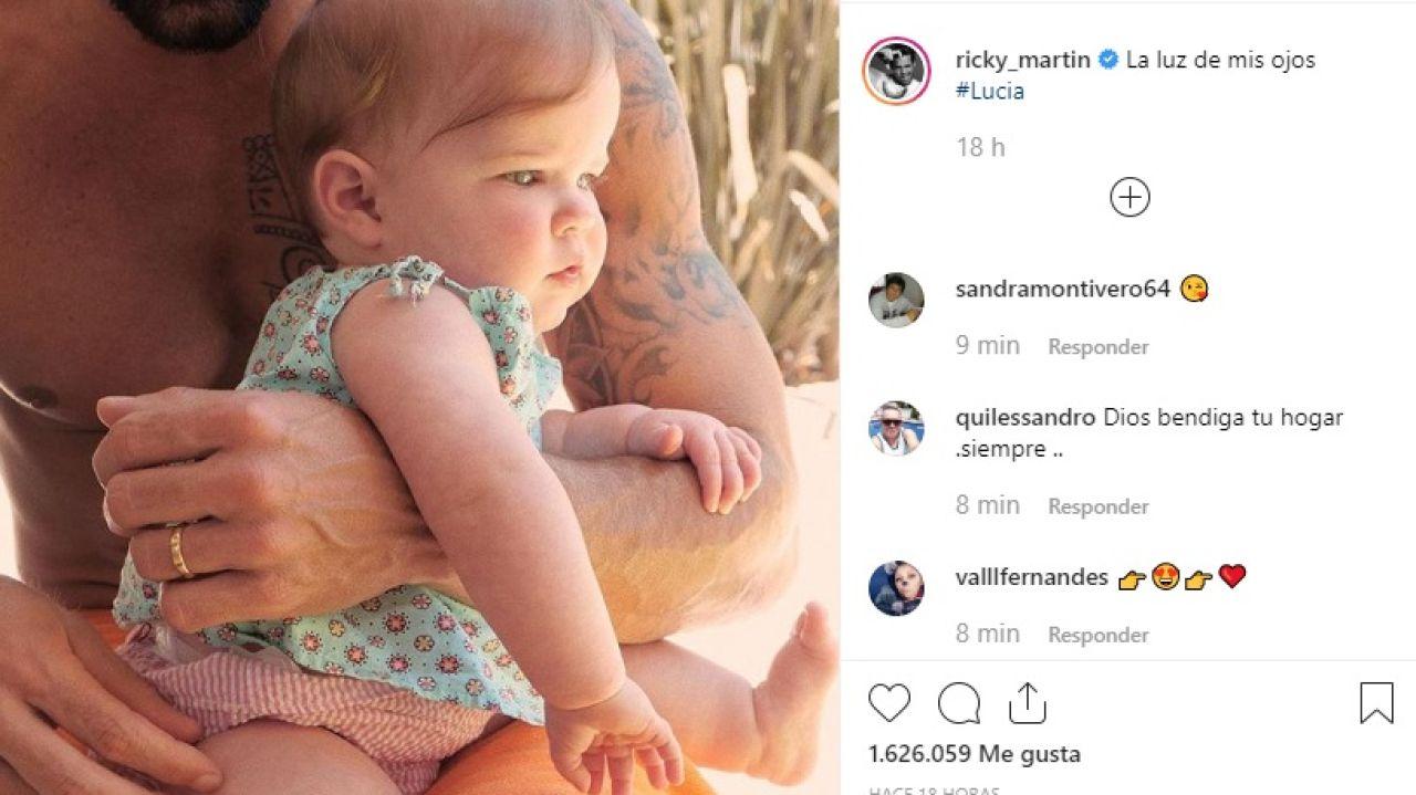 La publicación de Instagram en la que Ricky Martin ha mostrado a su hija Lucía.