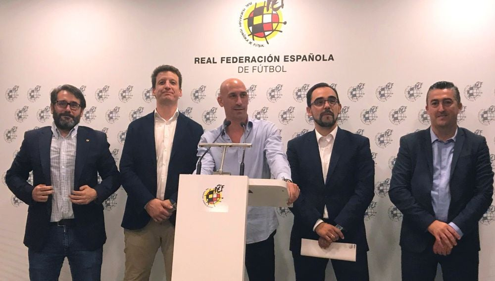 Luis Rubiales, en la comparecencia de la RFEF
