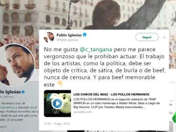 "Pablo Iglesias considera ""vergonzoso"" que prohíban actuar a C.Tangana en Bilbao"