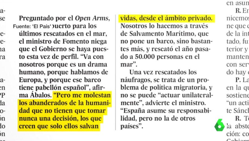 """Ábalos critica duramente la actuación del Open Arms: """"Me molestan los abanderados de la libertad que no tienen que tomar nunca una decisión"""""""