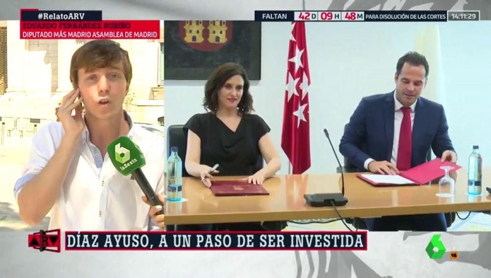 """Eduardo Fernández Rubiño (Más Madrid): """"Ciudadanos está dispuesto a dar una prórroga a la corrupción sistémica del PP"""""""