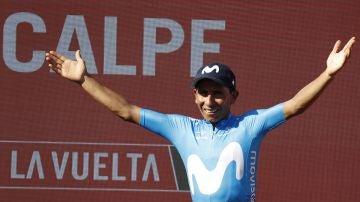 Nairo Quintana celebra su victoria en la segunda etapa de la Vuelta