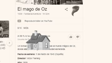 Pantallazo de la animación hecha por Google en el 80 aniversario de 'El mago de Oz'