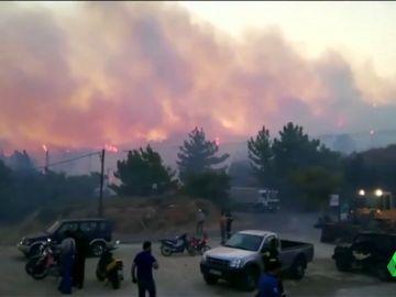 Incendio en la isla de Samos, Grecia