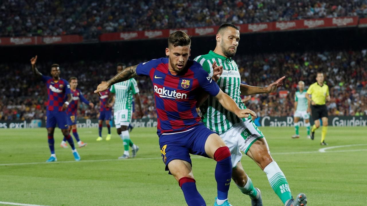 Momento del partido entre Barcelona y Betis