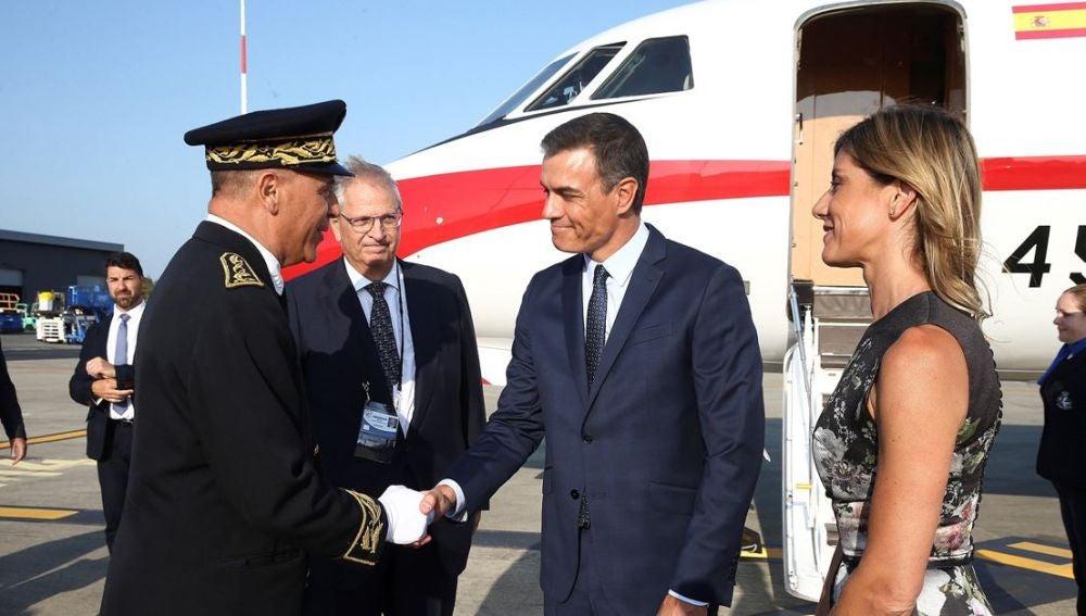 Pedro Sánchez a su llegada a la cumbre del G7