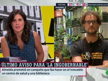 """Álvaro Briales, portavoz de 'La Ingobernable': """"No nos vamos a ir porque nuestra actividad es legítima"""""""