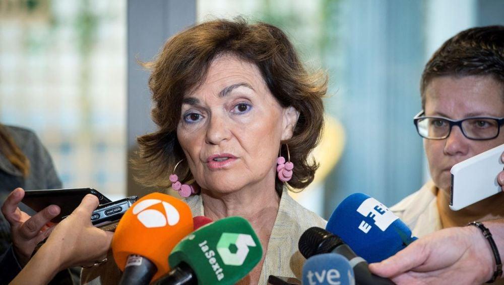 Carmen Calvo ante los medios